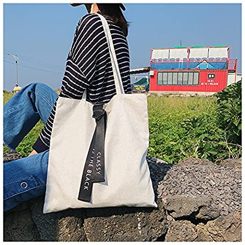 Canvas Tote Bag Black Print Design ASAPS (Classy White) - Eco Large Tote Bag