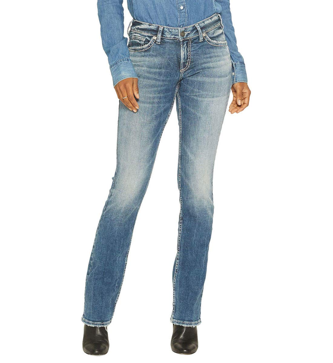 Suki Curvy Fit Mid Rise Slim Bootcut Jeans Silver Jeans Co. 2000216238