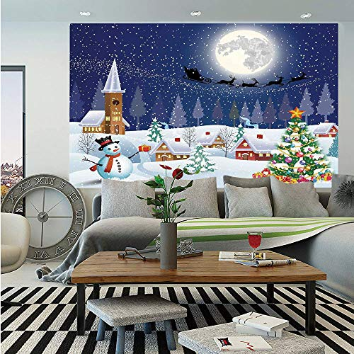 - Christmas Decorations Removable Wall Mural,Winter Season Snowman Xmas Tree Santa Sleigh Moon Present Boxes Snow and Stars,Self-Adhesive Large Wallpaper for Home Decor 66x96 inches,Blue White