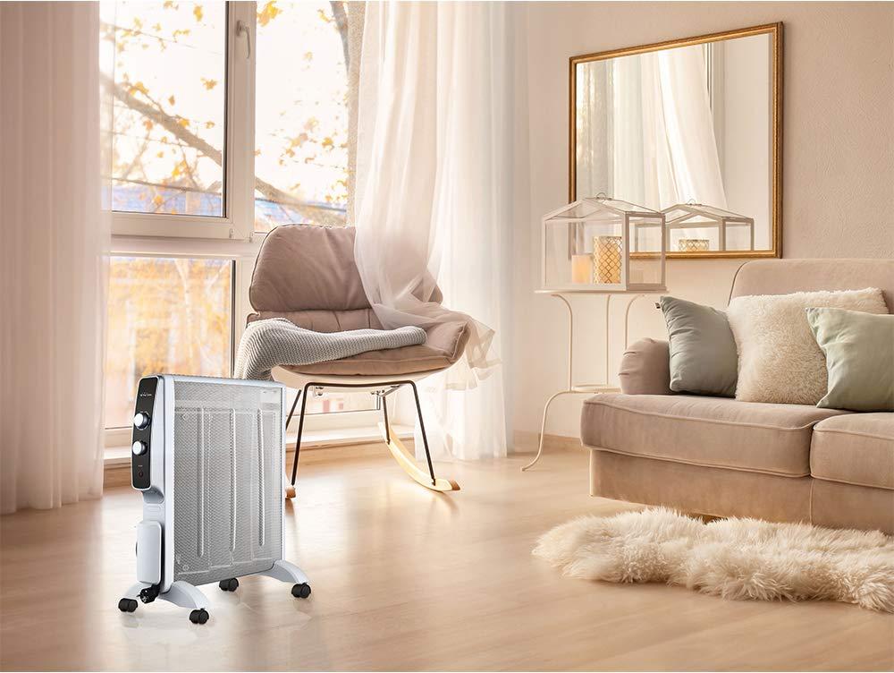 Calefactor Radiador Eléctrico Bajo Consumo con Panel de Mica hasta 2000 W Color Blanco con Ruedas y Termostato