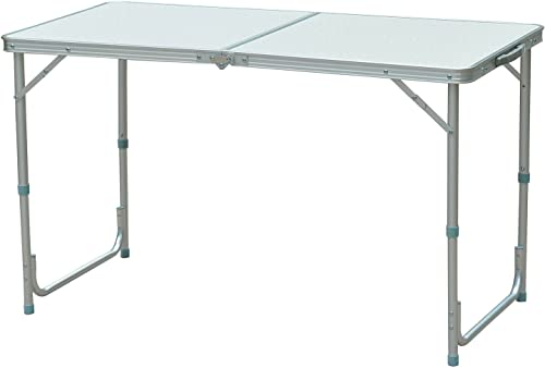 Outsunny 47 Aluminum Lightweight Portable Folding Easy Clean Camping Table with Carrying Handle