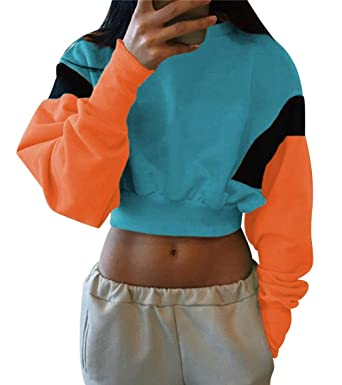 Sweat Femme Oversize Fille Shirt Ado Pull Crop Imprimé Court q774wp