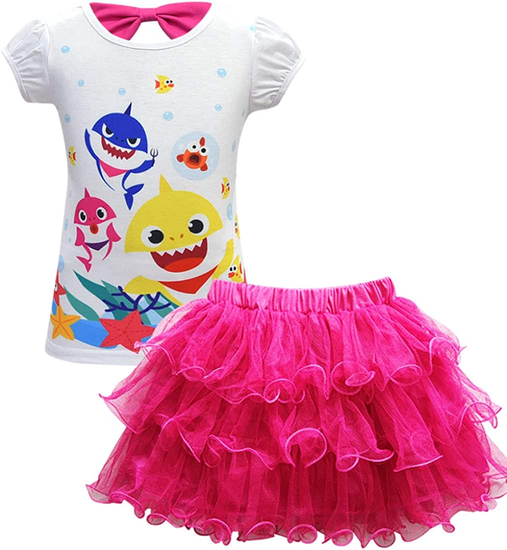 AOVCLKID Toddler Girl Baby Princess Shirt and Skirt Set Shark Cartoon Print Dress