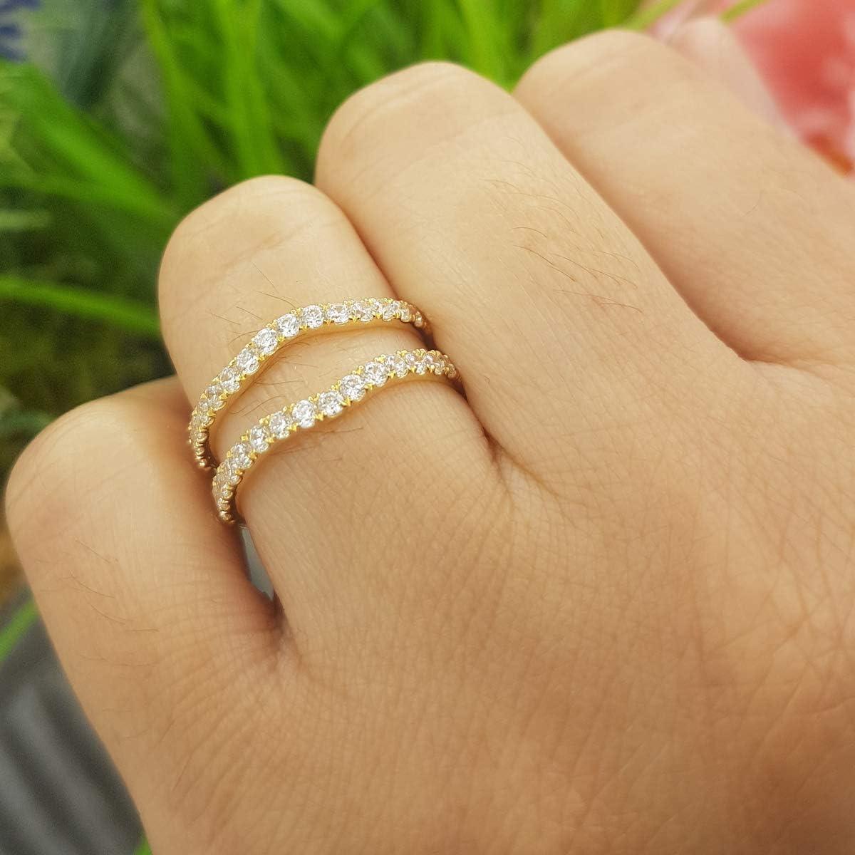 DazzlingRock Collection 1.60 Carat 10K Gold Round White Cubic Zirconia Wedding Enhancer Double Ring ctw