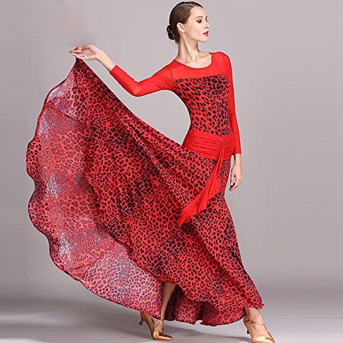 モダンな女性大きな振り子印刷社交ダンスドレスモダンダンスドレスタンゴとワルツダンスドレスダンスコンペティションスカートドレス長袖ネット糸ダンス衣装 B07HK6QDVD Small|Red Red Small