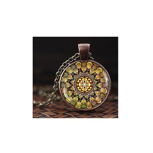 Amazon.com: Sri Yantra colgante collar, geometría sagrada ...