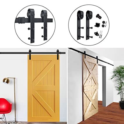 Hahaemall 8FT American Single Sliding Barn Door Hardware Best Heavy Track  Hanging Kit ( J Shape