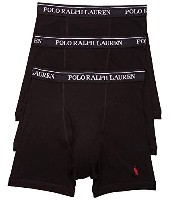 reasonable price get new authentic Polo Ralph Lauren Classic Fit Boxer Briefs with Moisture Wicking, 100%  Cotton - 3 Pack (M, 3Black)