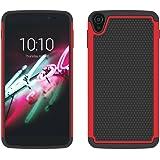 tinxi® Silikon Doppelte Schutzhülle für Alcatel idol 3 (5.5 Zoll) Protective Case Rutschfest Sports Jogging Shock Proof Rückschale Tasche Cover Etui in rot und schwarz