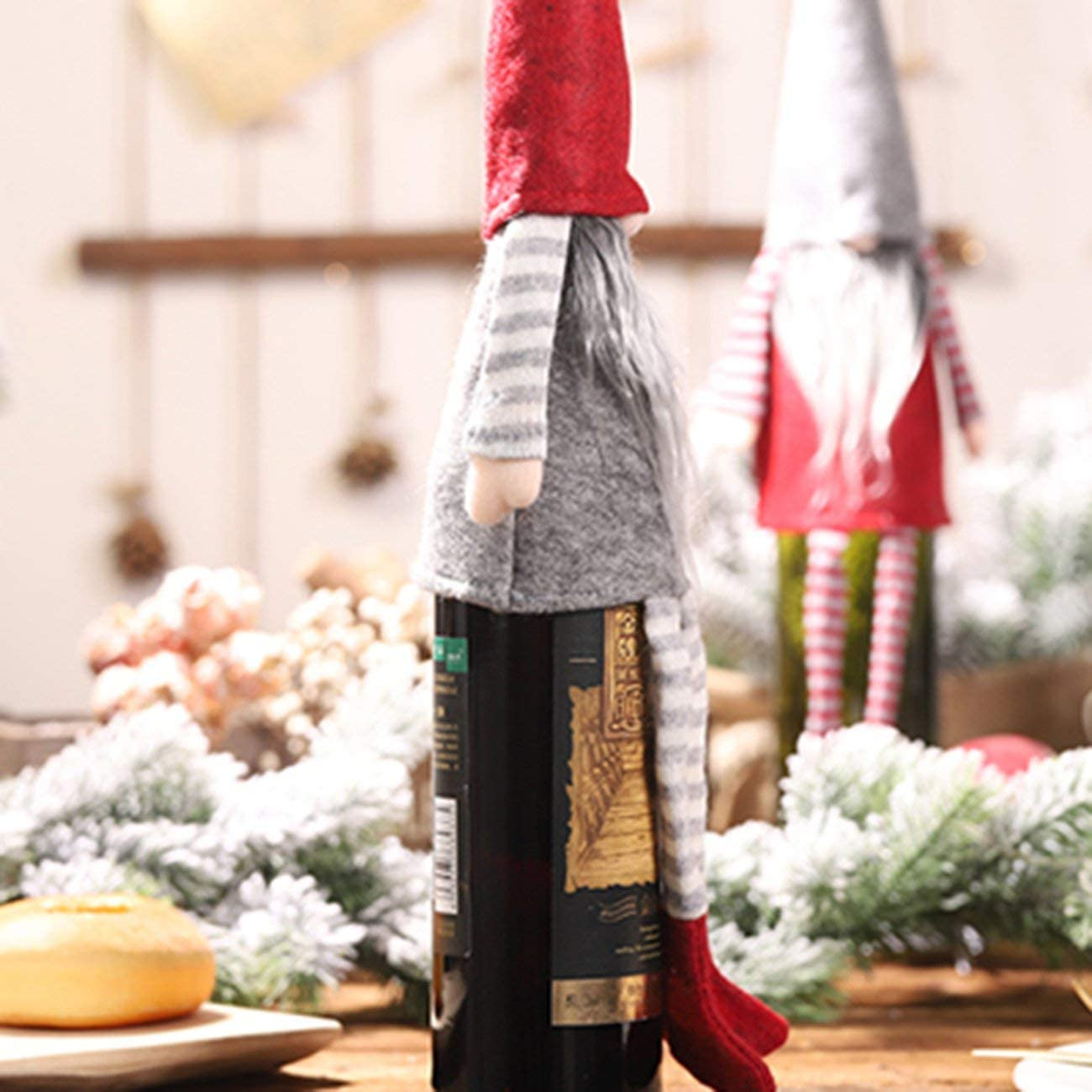 Decoraciones navideñas Mesa de comedor Decoración de botellas de vino Muñeca sin rostro Patas colgantes Tapa de la botella Pequeñas decoraciones extraíbles - Rojo: Amazon.es: Iluminación