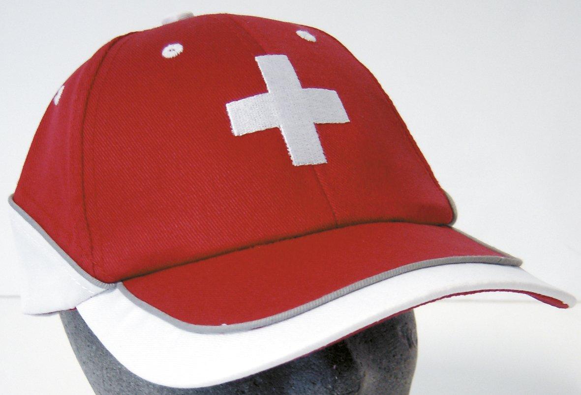 Baseball Cap Cap Cap Red with Embroidery White Cross Switzerland 68147