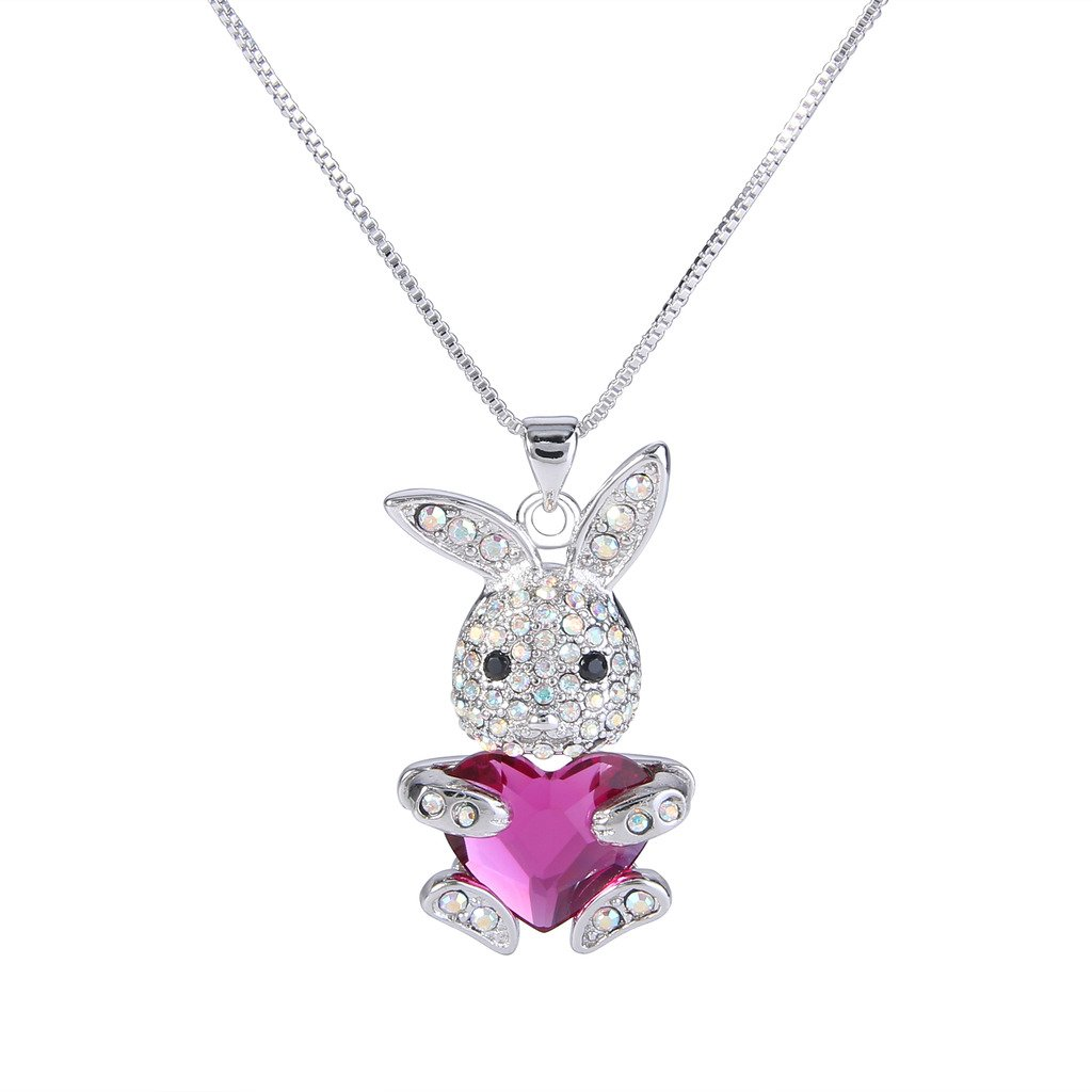 EleQueen Women's Silver-tone Bunny Heart Pendant Necklace Adorned with Swarovski® Crystals 16001037ca
