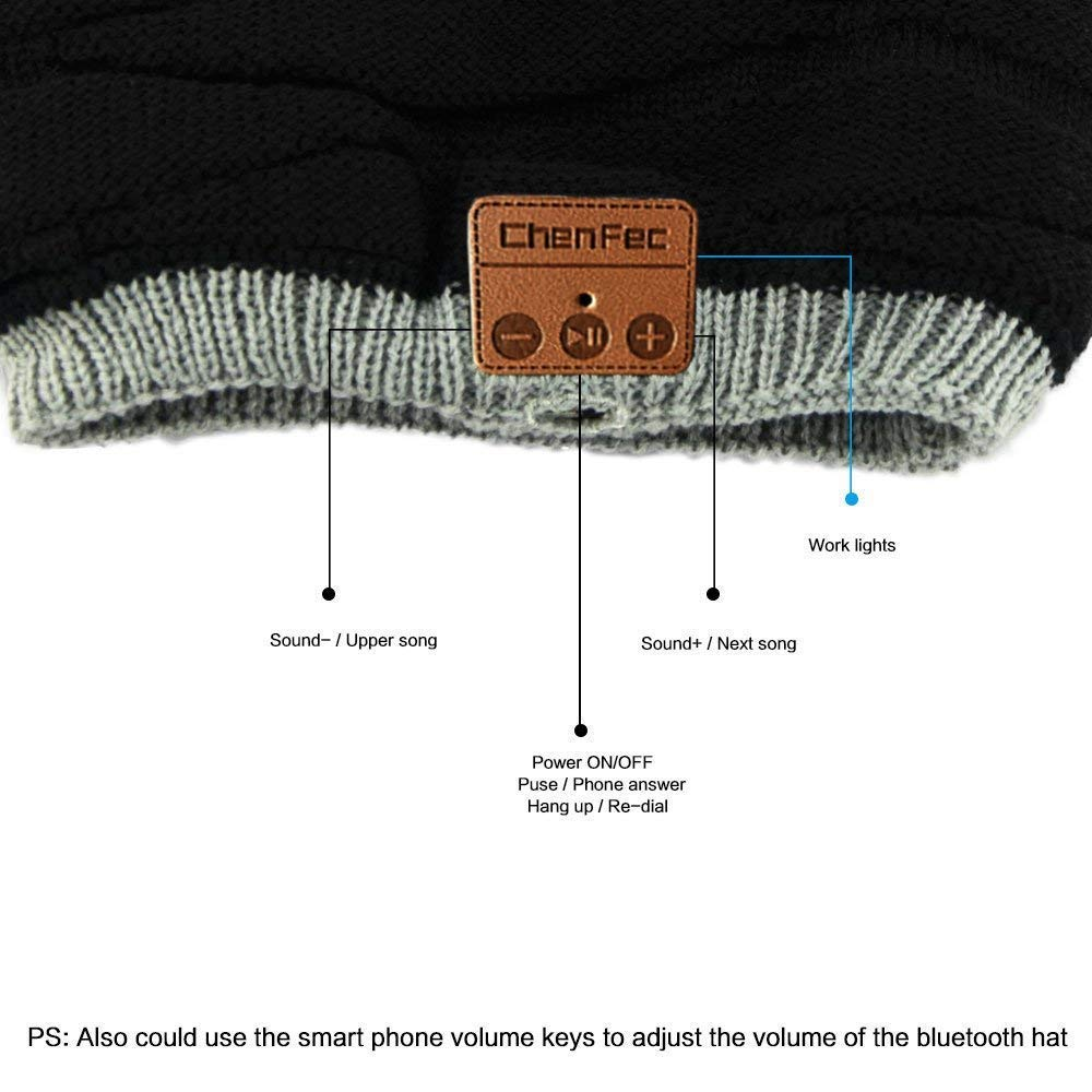 ChenFec Two-Faced 5.0 Bluetooth Beanie Hat Winter Outdoor Sports Music Hat Wireless Headphones, Built-in Mic Speaker Washable, Black and Light Grey Wear on Both Sides