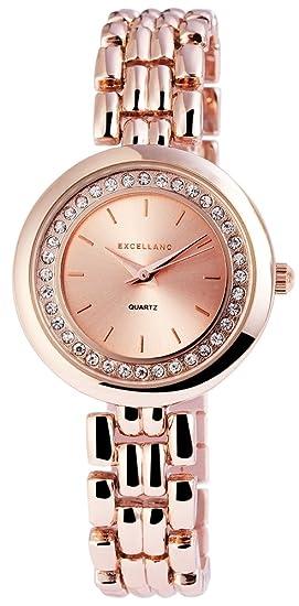Excellanc llanc Mujer Reloj con correa de metal color rosé Oro Rosa Rojo Oro con Cristales Brillantes Moderno elegante mujer reloj de pulsera: Amazon.es: ...