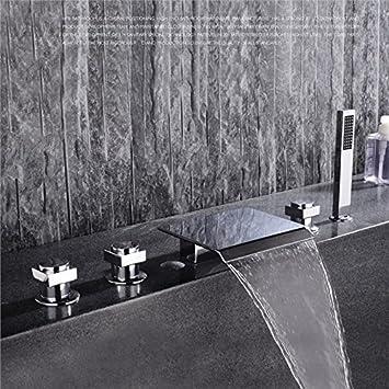 5 Loch Set Badewannenarmatur Handbrause Wannenrand Armatur Wasserfall Chrom DE