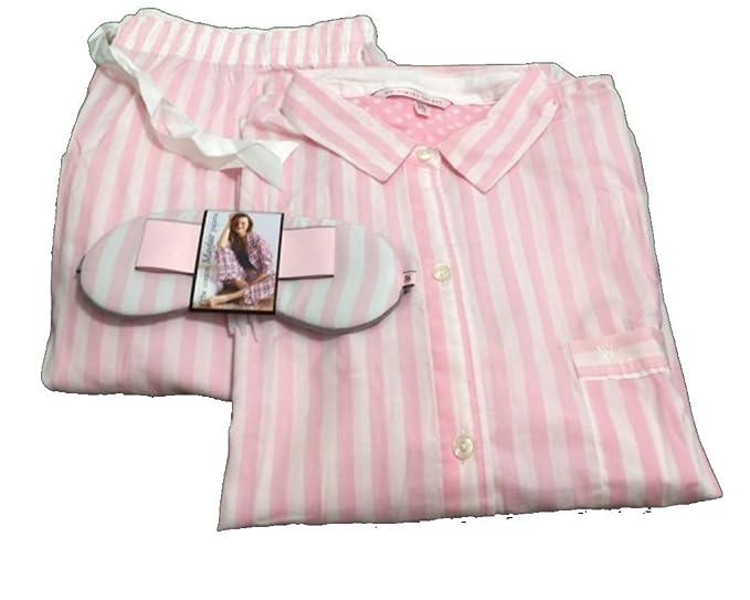 Victoria s Secret rosa de la mujer el algodón Mayfair juego de pijama rosa rayas