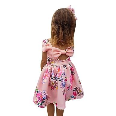 YpingLonk Vestido De Princesa Brillantes Niña sin Manga Mini Falda Arco Flor Impresa Atrás Hueco de Bebé Traje de Ceremonia Chica: Amazon.es: Ropa y ...