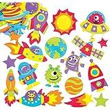Baker Ross Lehrreiche Sonnensystem-Aufkleber aus Moosgummi mit Verschiedenen Motiven für Kinder Zum Gestalten und Verzieren von Bastelarbeiten Zum Thema Weltraum (120 Stück)