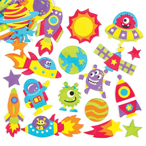 Baker Ross Space and Alien Foam Stickers (Pack of 120) Self Adhesive Puffy Scrapbook Stickers