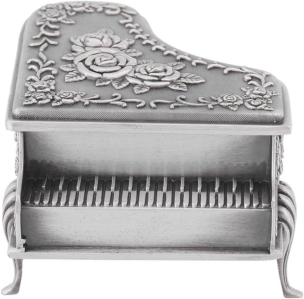 Joyero Vintage con Caja de Organizador de Tesoros de aleación de Zinc Exquisita Tallada en Forma de Piano y Flor de Rosa: Amazon.es: Ropa y accesorios