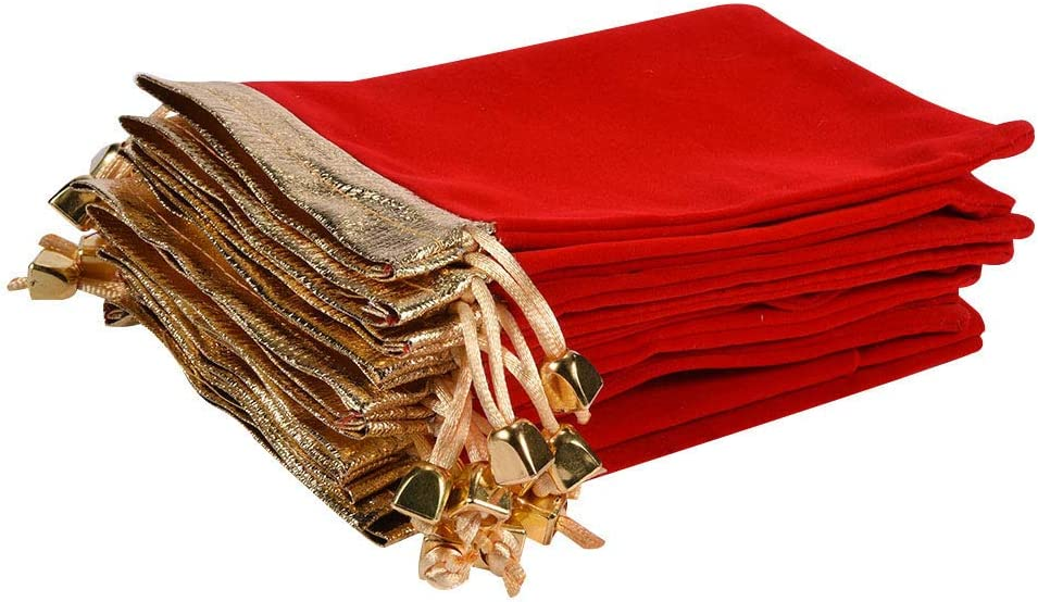 """KIPETTO 25Pcs Soft Velvet Pouches with Drawstrings for Jewelry Wedding Candy Bags, 4.7""""x6.3"""", Red"""