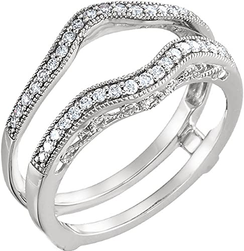 Details about  /Vintage 14k White Gold Over Diamond Solitaire Enhancer Guard Round Ring Wrap