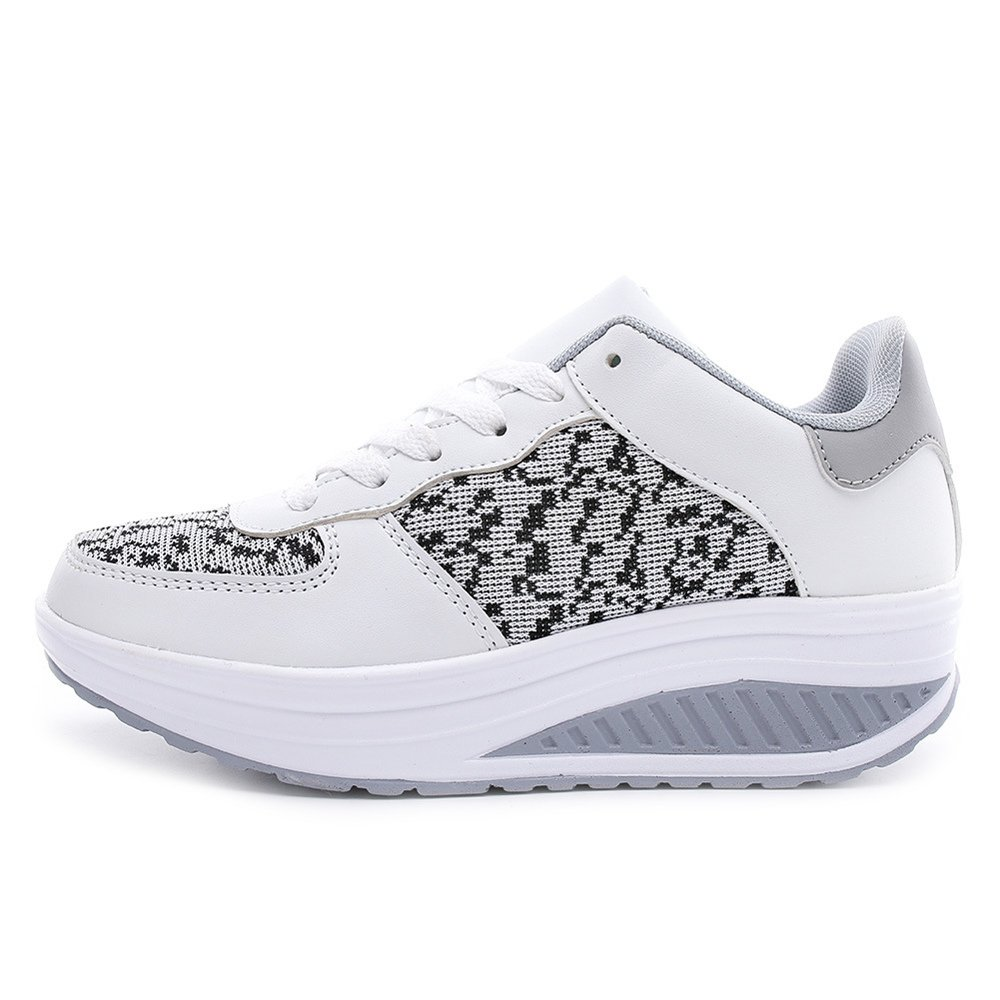 uruoi New Year Gift Women's Lose Weight Walking Shoes Wedge Slip on Platform Breathable Comfortable Shake Shoes 8 B(M) US White 40