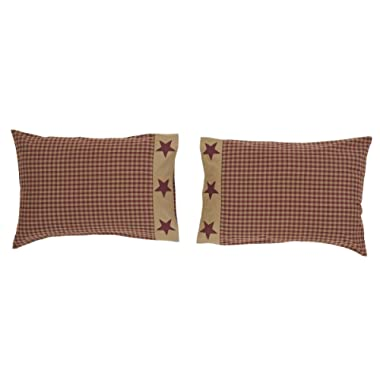 VHC Brands Ninepatch Star 21  x 30  Checkered Pillow Case (Set of 2)