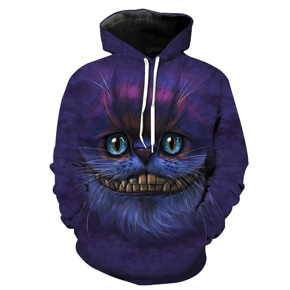 Qin&X Männer 3D Long Sleeve Print Hoodie Pullover Sweatshirt