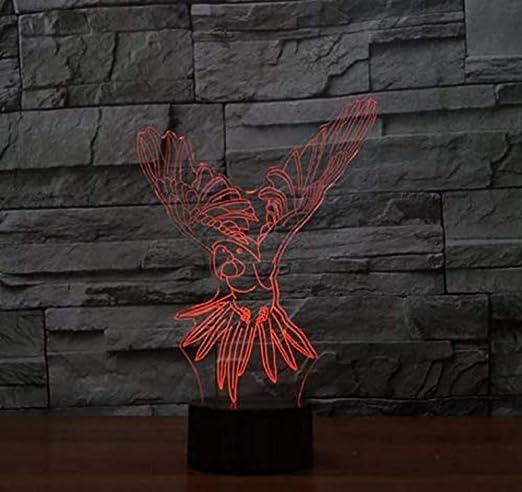 3D Lámpara De Escritorio 3D Visual Usb Flying Parrot Lámpara De ...