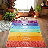 Sipring Hot Rainbow Beach Towel Wall Hanging Tapestry Hippy Throw Stripe Towel Yoga Mat Picnic Blanket-Superfine Fiber-59''x30'' (A)