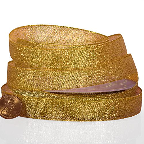 - Gold Metallic Lurex Ribbon, 7/8