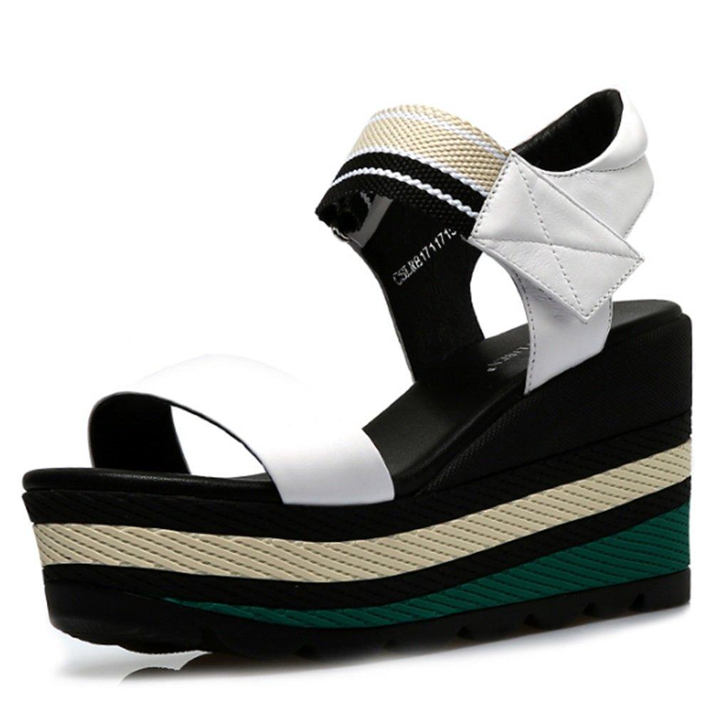 Flipflop ZZHF Slope mit mit Slope Sandalen Sommer High-Heeled Wasserdichte Sandalen Dick Schuhe Wilde Flache Schuhe (3 Farben Optional) (Größe Optional) (Farbe : A, Größe : 36) A d7b301