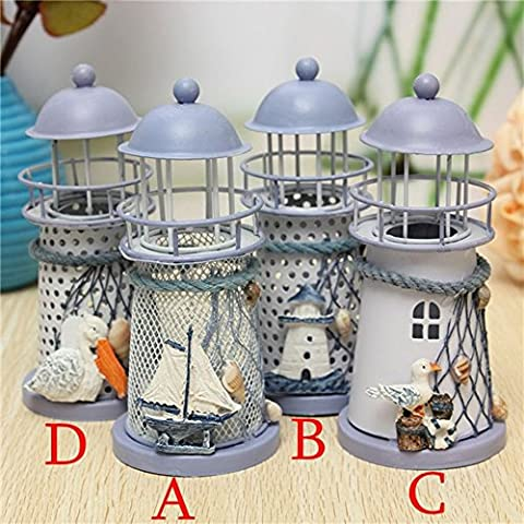Iron Lighthouse Candle Holder Lanterns Fragrance Aroma Lamp Environmental Spa Aromatherapy (D)