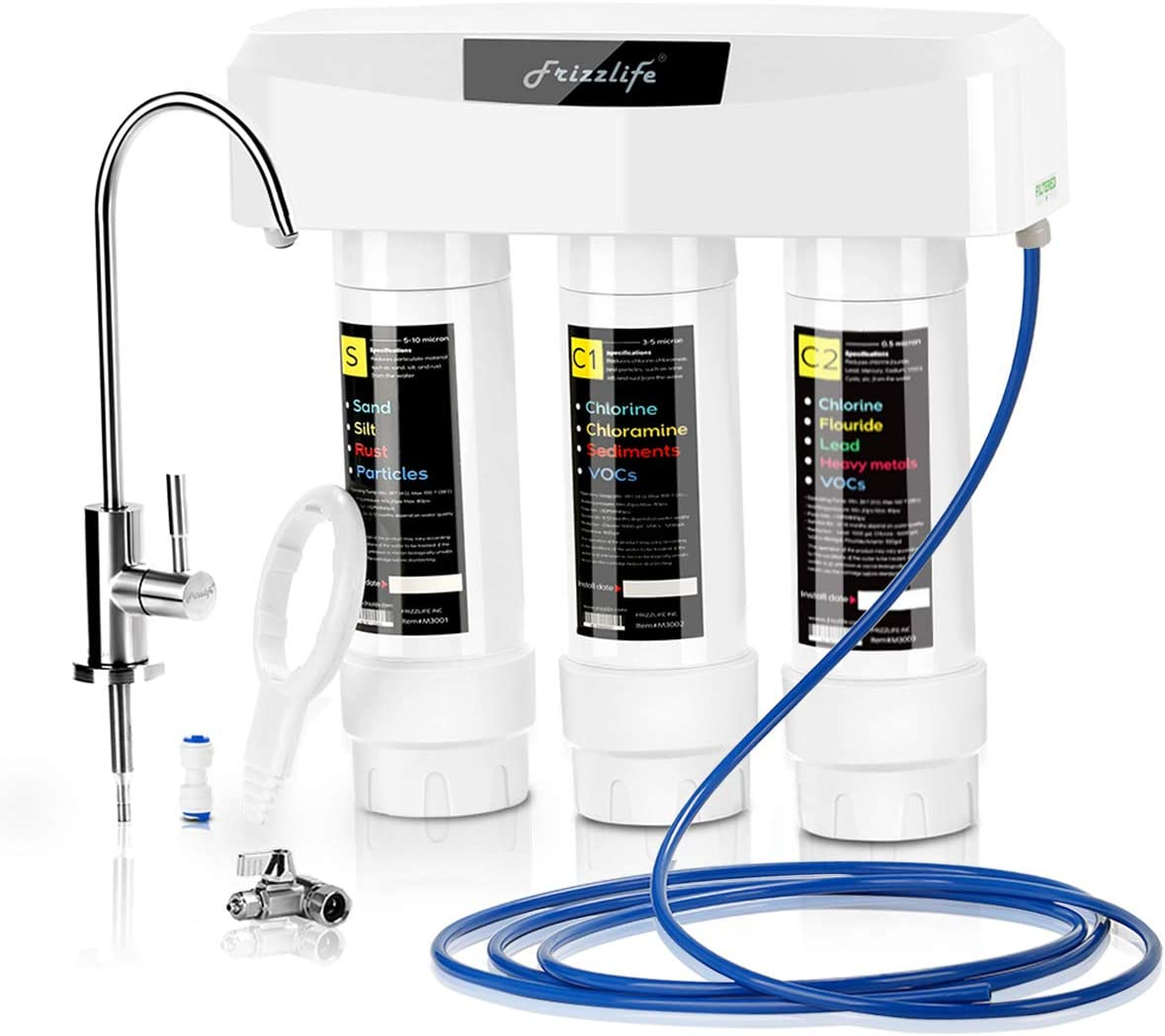 Frizzlife Under Sink Water Filter System With Brushed Nickel Faucet SP99, 3-Stage 0.5 Micron High Precision Removes 99.99% lead, chlorine, chloramine, fluoride - Tankless Quick Change