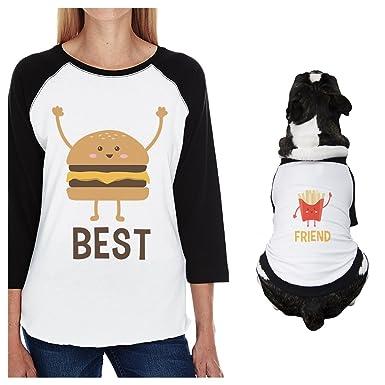 0060a1c1d Amazon.com  365 Printing Hamburger and Fries Small Dog and Mom Matching  Outfits Raglan Tees  Clothing
