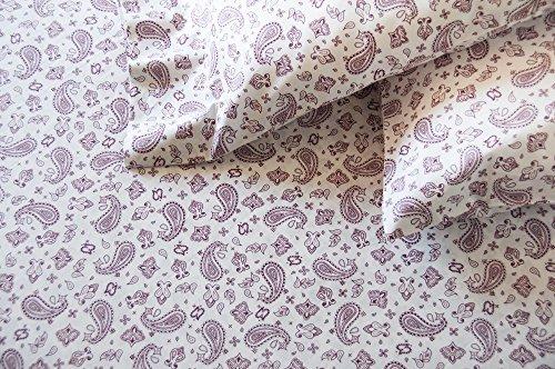Thread Experiment Paisley Bandana Print Matte Sateen Sheet Set for Men, White / Burgundy, Queen (Sheets Bandana Bed)