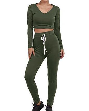5714707df64de0 Auxo Women s Casual Sexy Slim Hooded Stretch Crop Top High Waist Pants  Sportswear Jumpsuit Romper Army