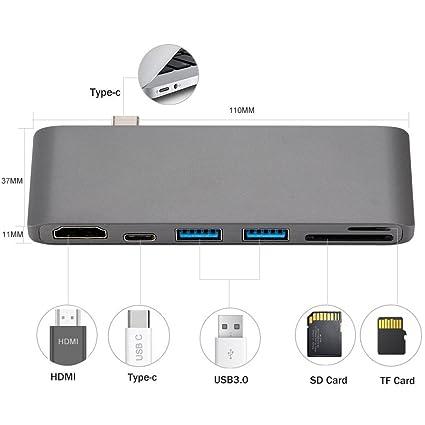 Amazon com: High Speed 6-port USB Type C (USBC) Hub USB-C