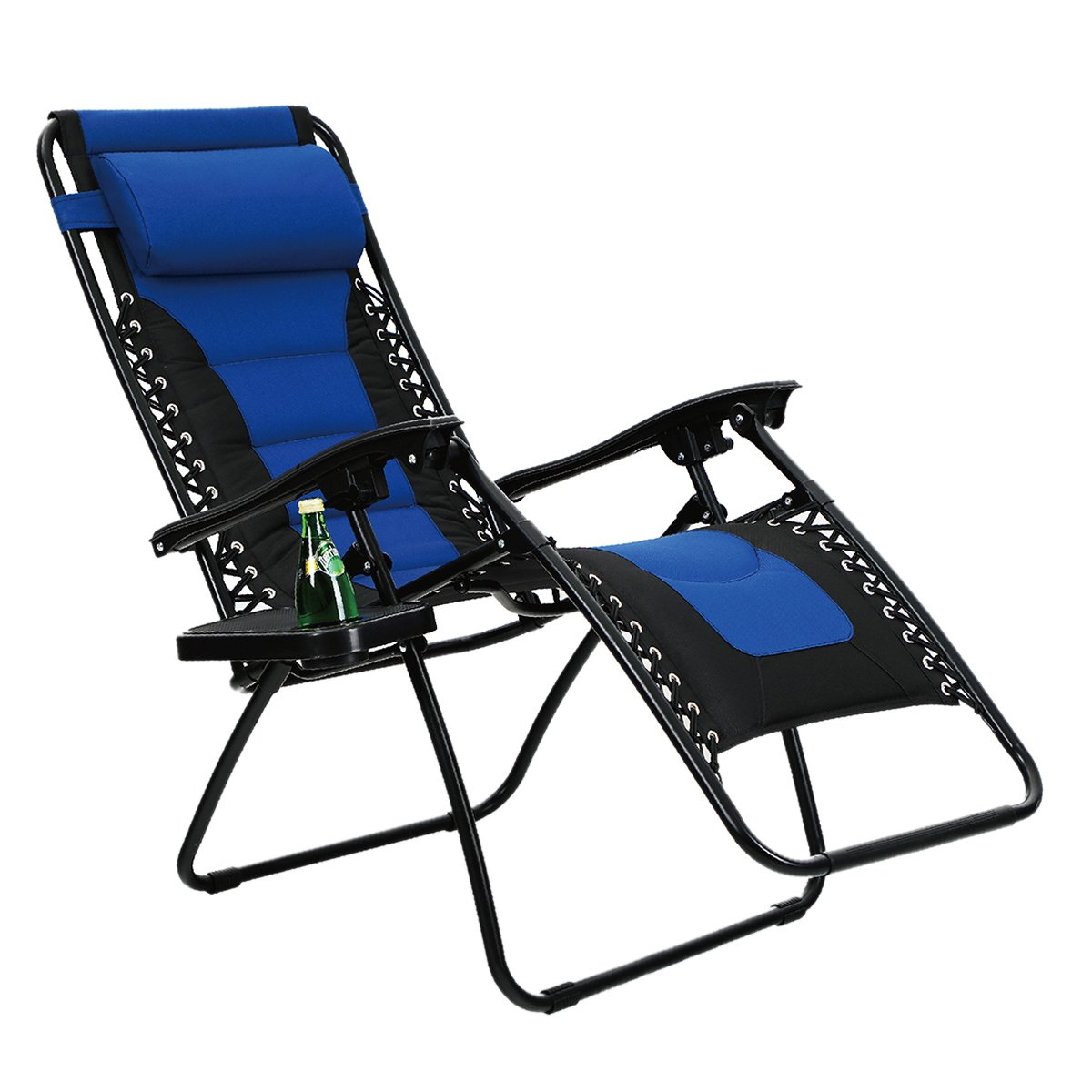 PV Padded Zero Gravity Lounge Chair Patio Adjustable Reclining with Cup Holder for Outdoor Yard Porch Navy Blue by Pv