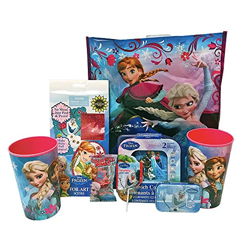 Frozen Gift Set! Includes Reusable Frozen Gift Bag, Two Sandwich Containers, Two Cups, A Foil Art Set, A Tin Of Cotton Swabs And Two Lollipops! Perfect Set For On The (Lollipop Tin)