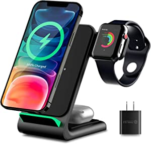 3 in 1 Wireless Charging Station for Apple Products, Qi-Certified Wireless Charger Stand Dock with Smart Indicator for iPhone 12 11 Pro Max, Apple Watch SE 6 5 4 3 2, AirPods Pro 2(with Adapter)