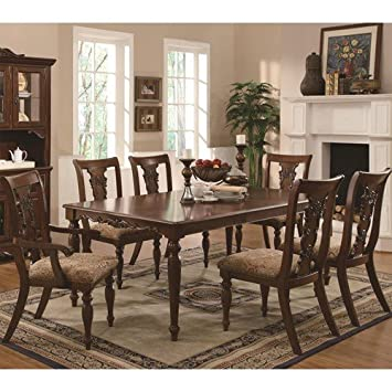 Addison Traditional Seven Piece Dining Set With Upholstered Chairs