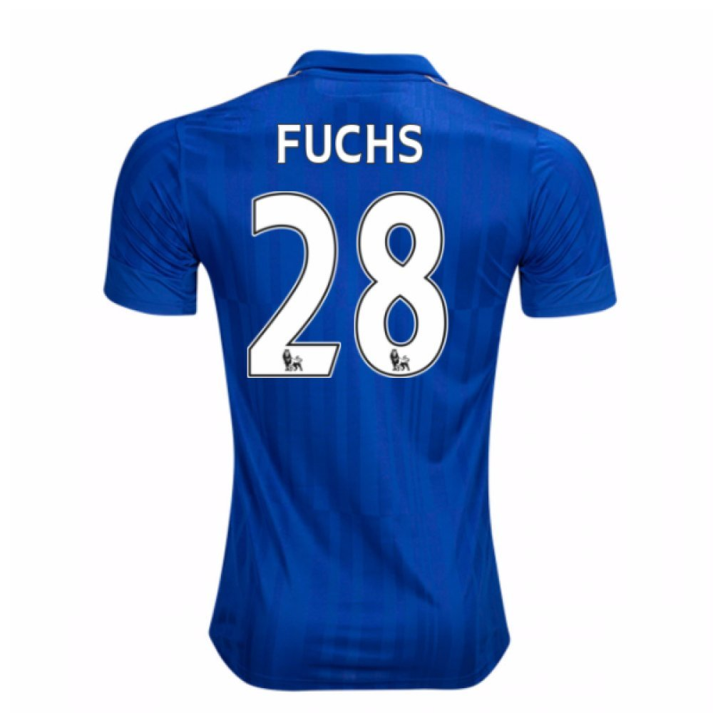 2016-17 Leicester City Home Football Soccer T-Shirt Trikot (Christian Fuchs 28) - Kids
