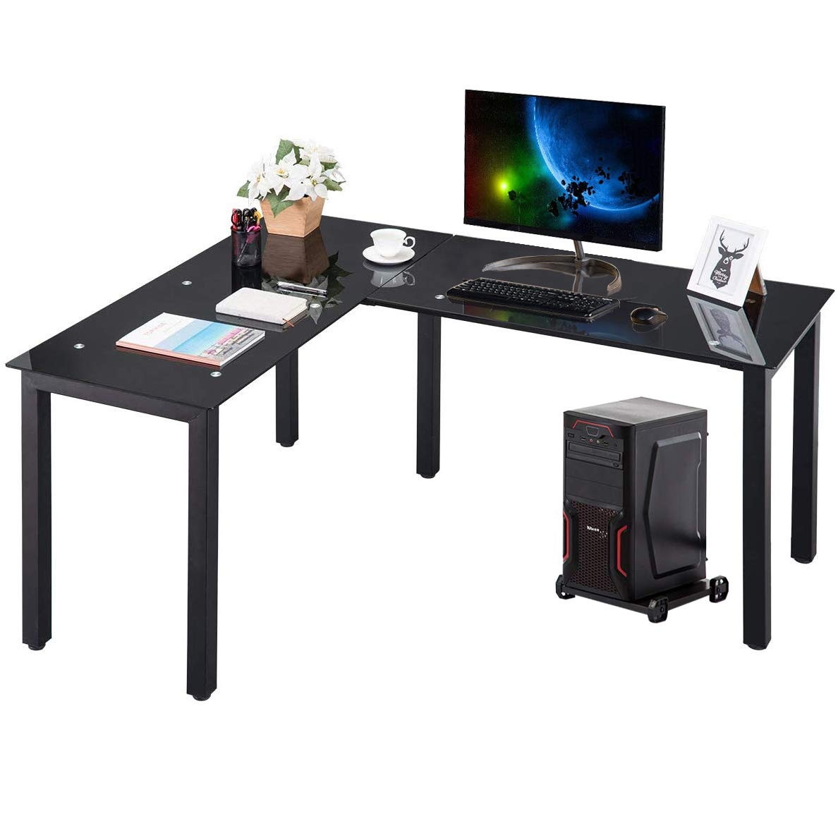 HM HOME L-Shape Home Office Corner Computer Desk PC Laptop Table Workstation with Tempered Glass Top Black