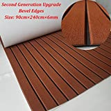 yuanjiasheng New Design EVA Faux Teak Decking Sheet For Boat Yacht Non-Slip Marine Flooring Mat 94.5''× 35.4'' Bevel Edges (drak brown with black lines)