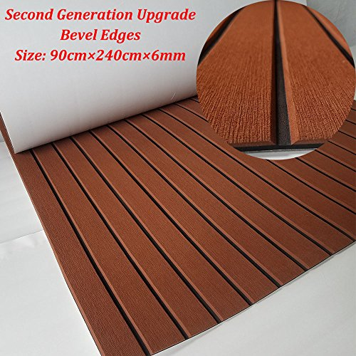 yuanjiasheng New Design EVA Faux Teak Decking Sheet For Boat Yacht Non-Slip Marine Flooring Mat 94.5''× 35.4'' Bevel Edges (drak brown with black lines) by yuanjiasheng