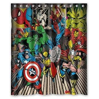 Fashionable bathroom collection custom super heroes marvel shower curtain bath decor - Marvel superhero bathroom accessories ...