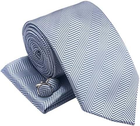 Herringbone Stripe Woven Men's Tie Necktie w/ Pocket Square & Cufflinks Gift Set