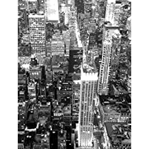 J.P. London PMUR0087 Peel and Stick Removable Wall Decal Sticker Mural, New York City Swingers Skyline Black and White, 4 X 3-Feet